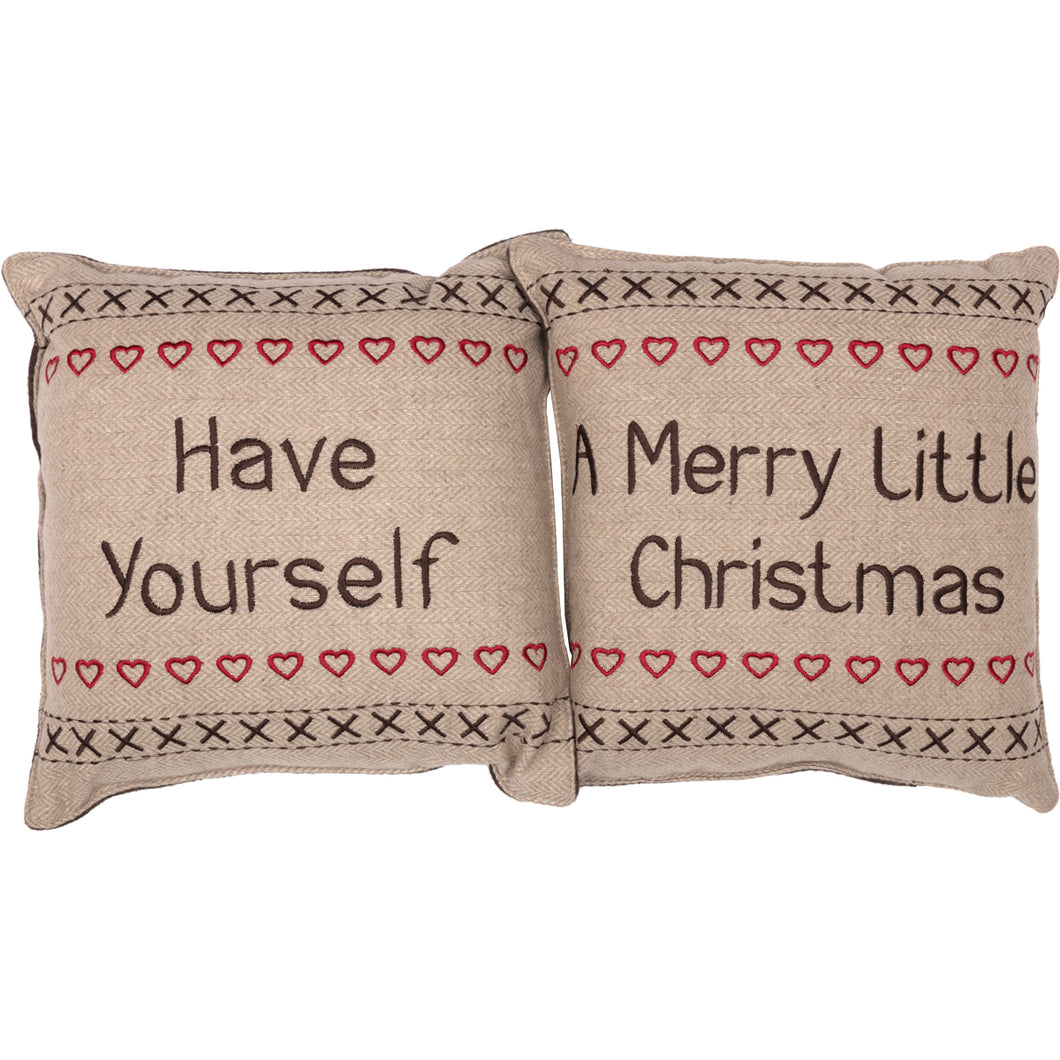 Merry Little Christmas Pillow Have Yourself A Set of 2 12x12 - Woodrol