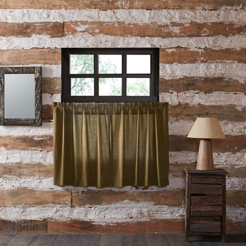 Tea Cabin Green Plaid Tier Set of 2 L36xW36 - Woodrol