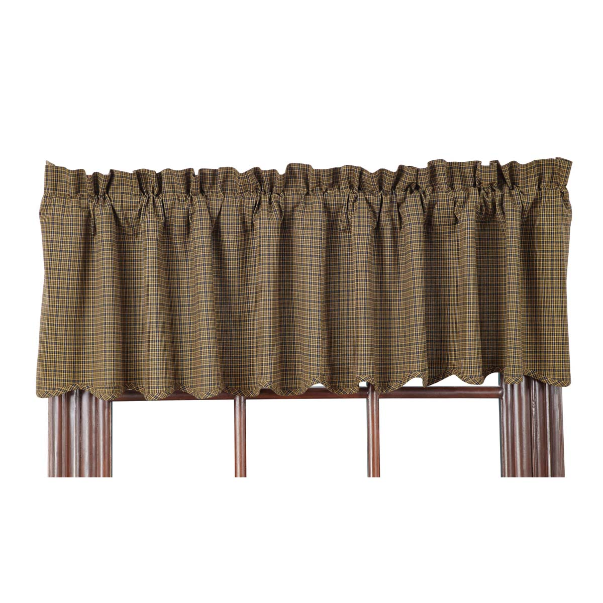 Tea Cabin Green Plaid Valance 16x72 - Woodrol
