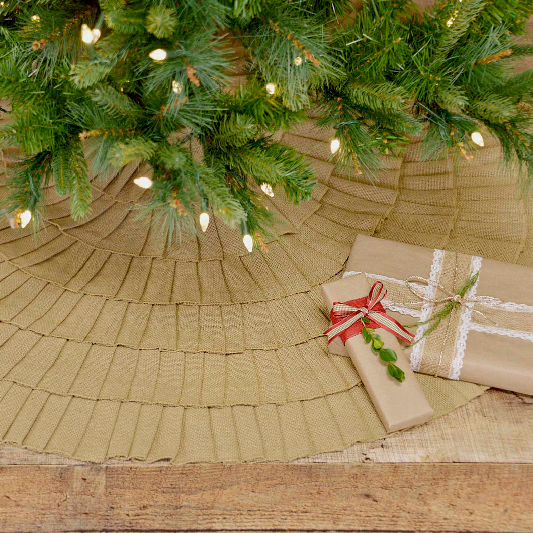 Festive Natural Burlap Ruffled Tree Skirt 48 - Woodrol
