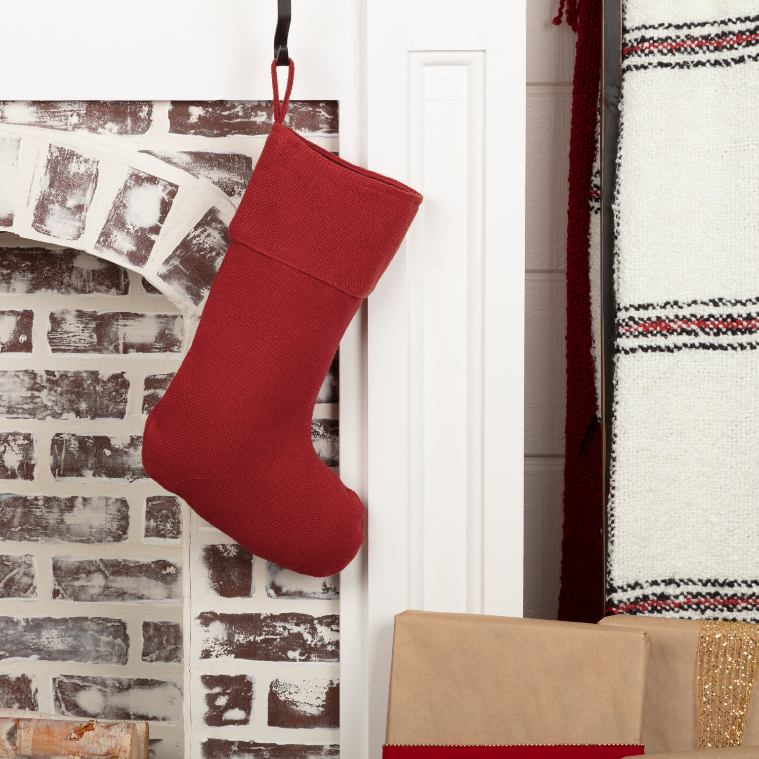 Festive Red Burlap Stocking 11x15 - Woodrol