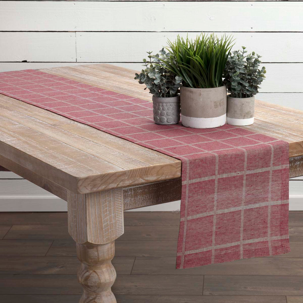 Julie Red Plaid Runner 13x90 - Woodrol
