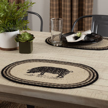 Sawyer Mill Charcoal Pig Jute Placemat Set of 6 12x18 - Woodrol