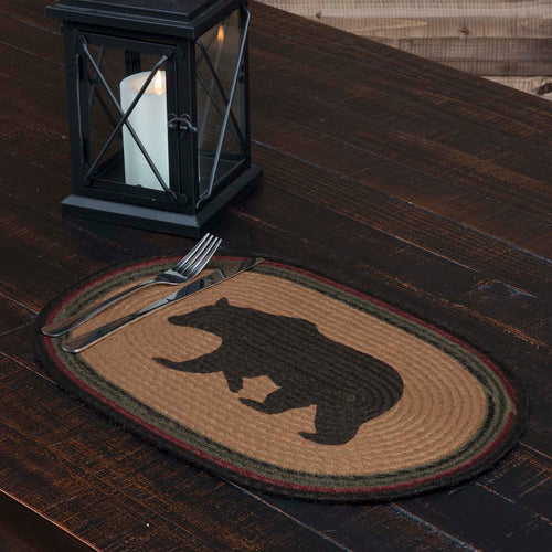 Wyatt Stenciled Bear Jute Placemat Oval Set of 6 12x18 - Woodrol