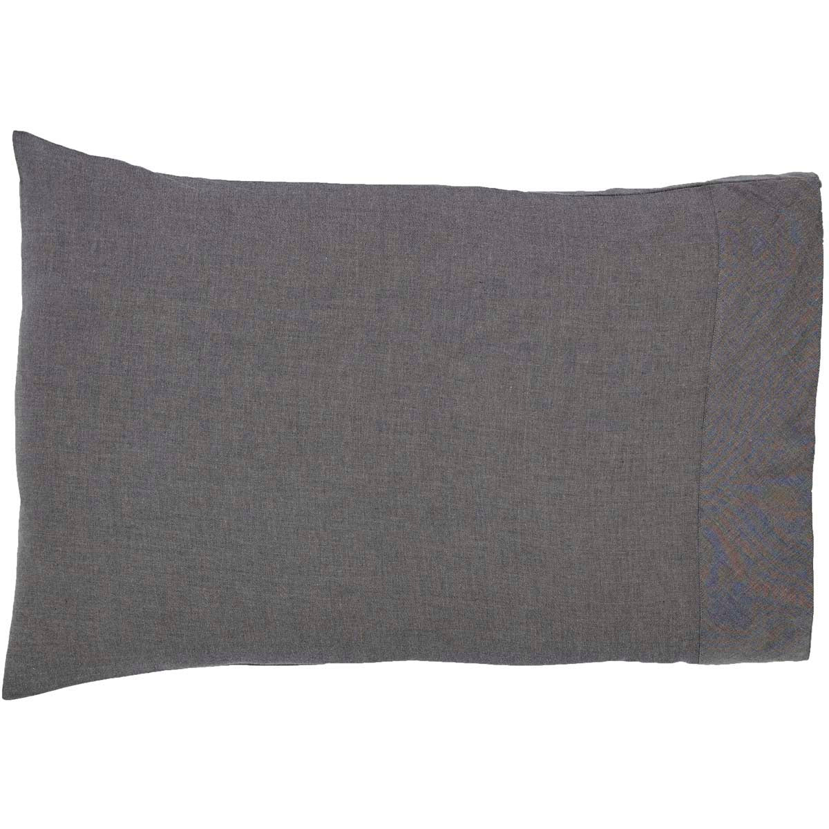 Black Chambray Standard Pillow Case Set of 2 21x30 - Woodrol