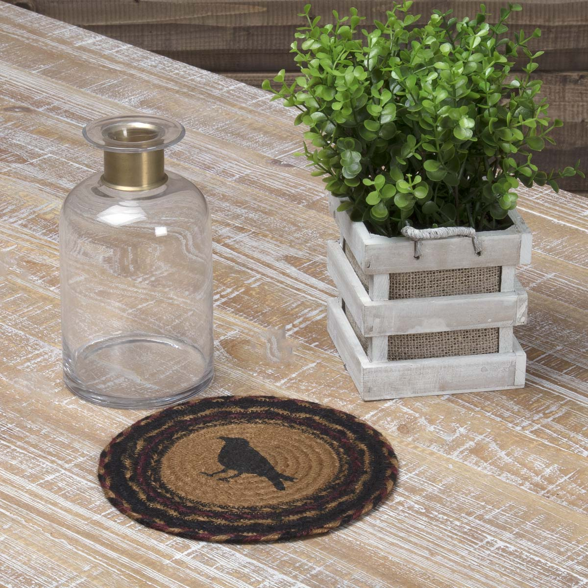 Heritage Farms Crow Jute Trivet 8 - Woodrol