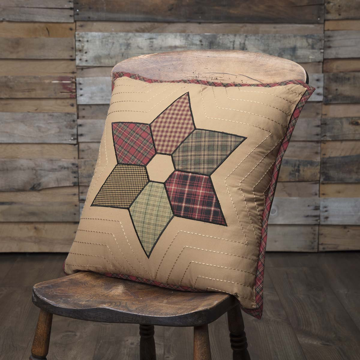 Tea Star Patchwork Pillow 18x18 - Woodrol