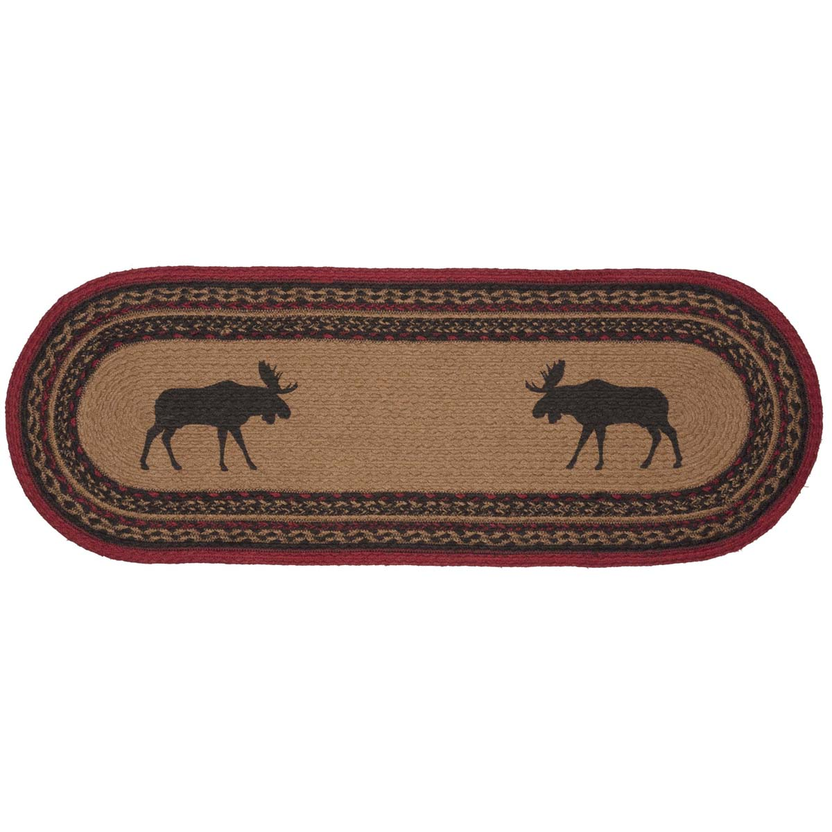 Cumberland Stenciled Moose Jute Runner Oval 13x36 - Woodrol