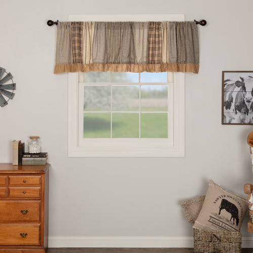 Sawyer Mill Charcoal Patchwork Valance Curtain 19x90 - Woodrol
