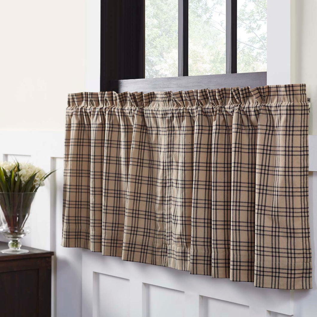 Sawyer Mill Charcoal Plaid Tier Curtain Set of 2 L24xW36 - Woodrol
