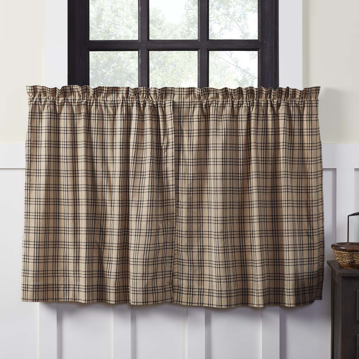 Sawyer Mill Charcoal Plaid Tier Curtain Set of 2 L36xW36 - Woodrol