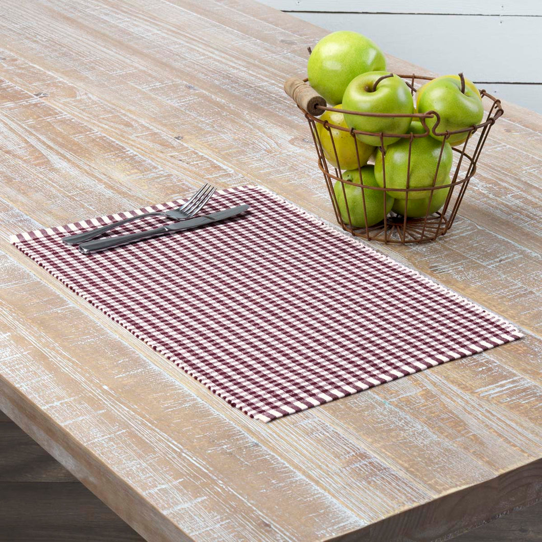 Tara Burgundy Ribbed Placemat Set of 6 12x18 - Woodrol