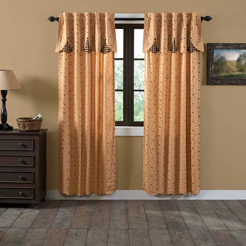 Maisie Panel Curtain with Attached Scalloped Layered Valance Set of 2 84x40 - Woodrol