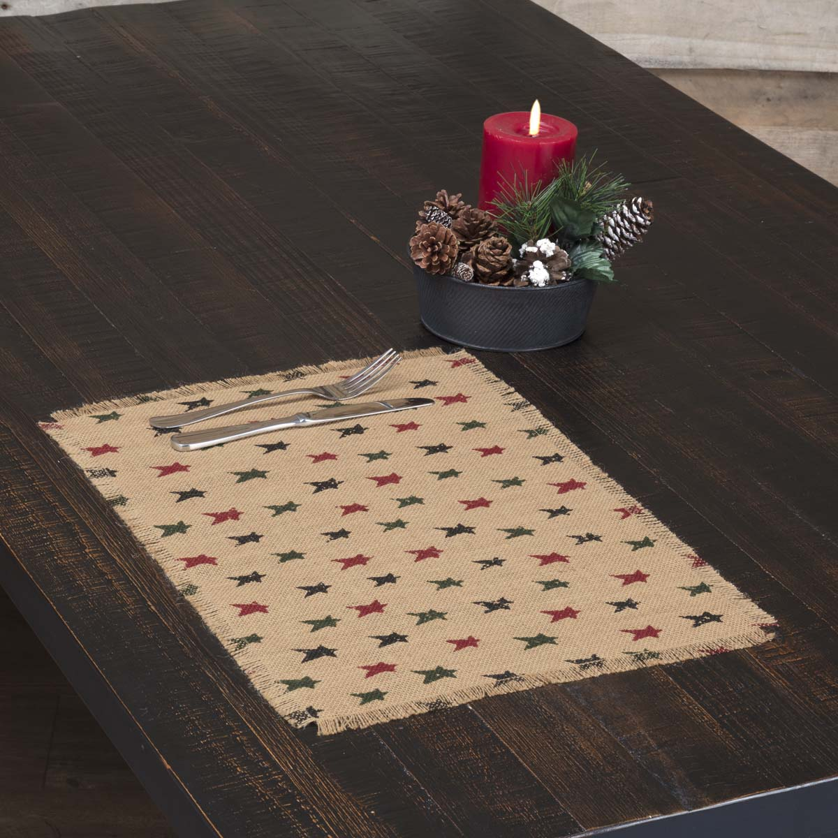 Primitive Star Jute Placemat Set of 6 12x18 - Woodrol
