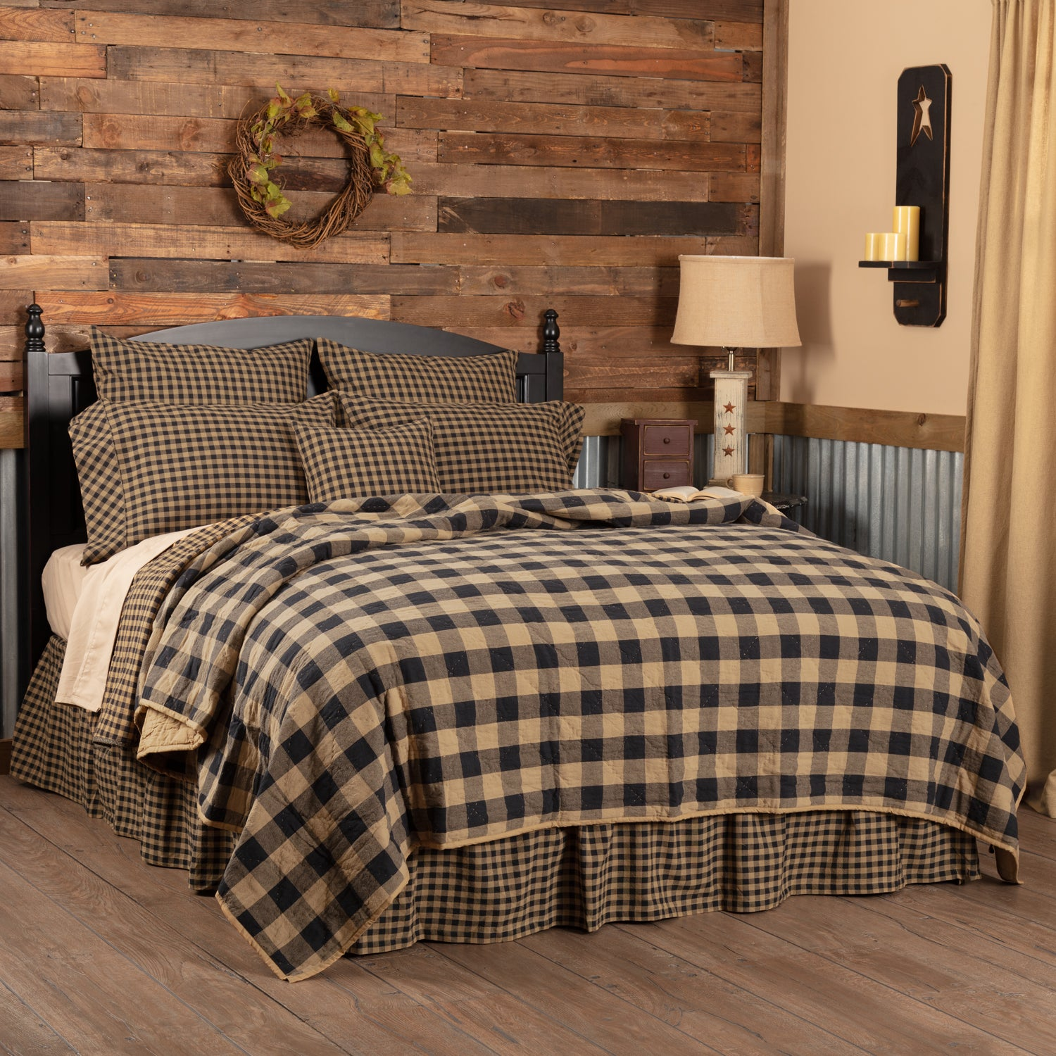 Black Check Twin Quilt Coverlet 68Wx86L - Woodrol
