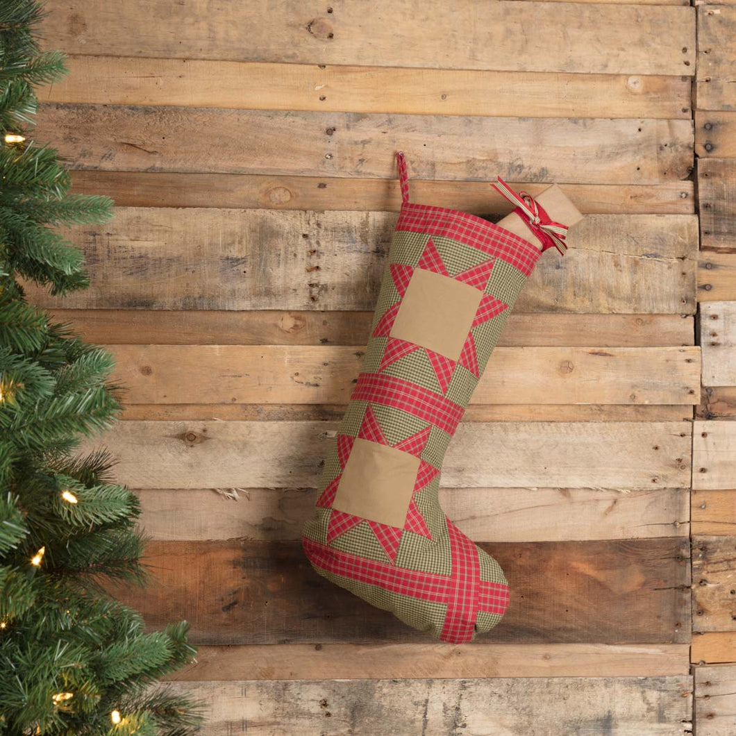 Dolly Star Green Patch Stocking 12x20 - Woodrol