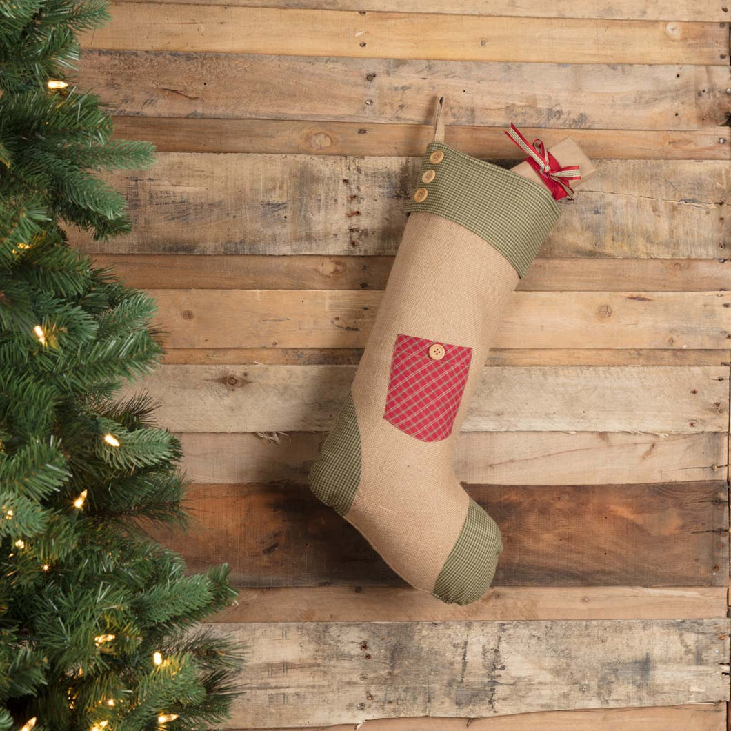 Dolly Star Red Pocket Stocking 12x20 - Woodrol