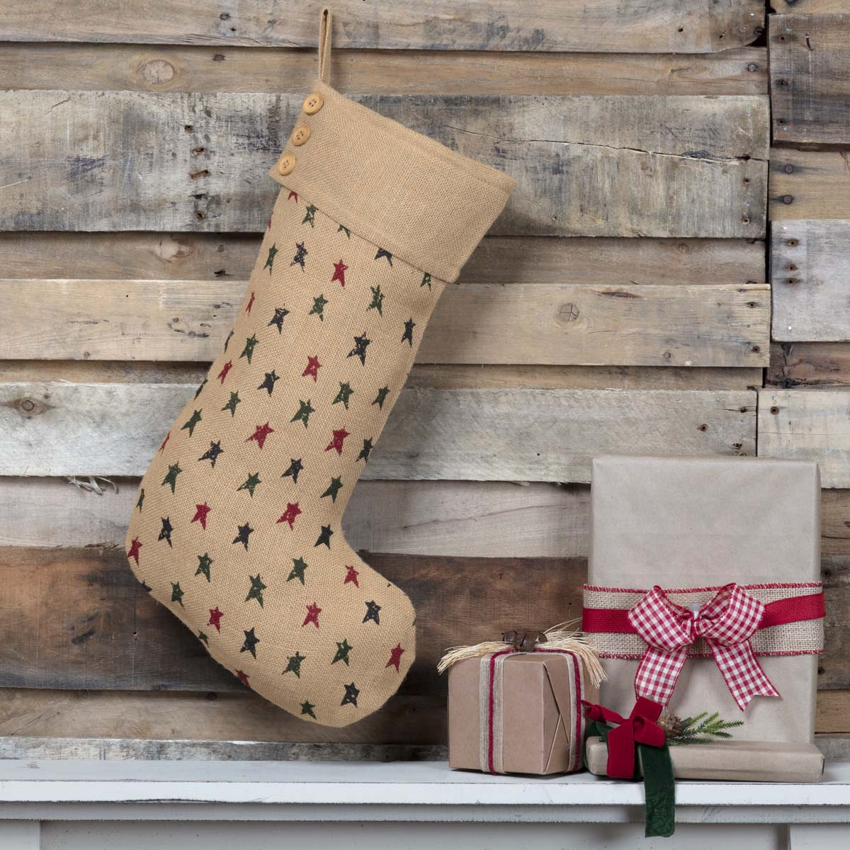 Primitive Star Jute Stocking 12x20 - Woodrol
