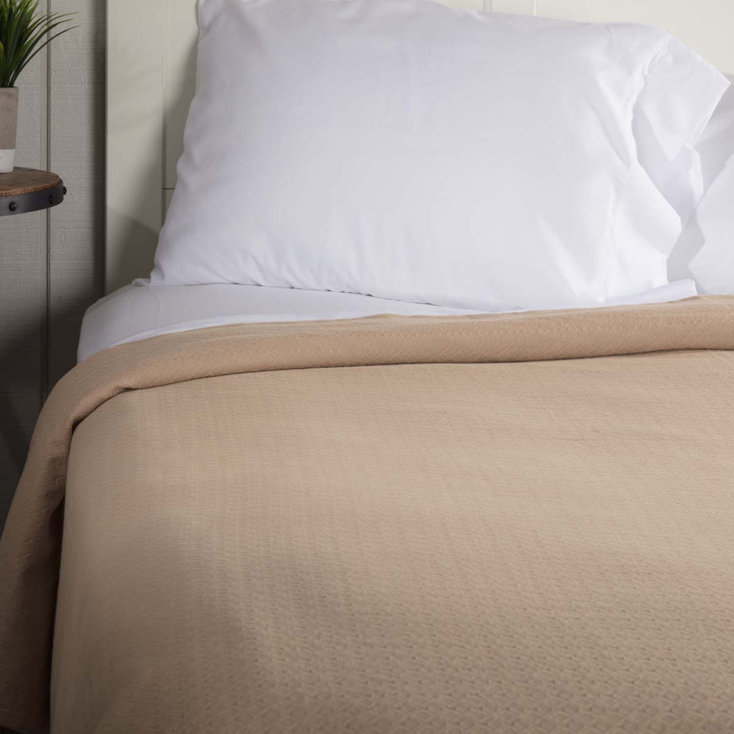 Serenity Tan King Cotton Woven Blanket 90x108 - Woodrol