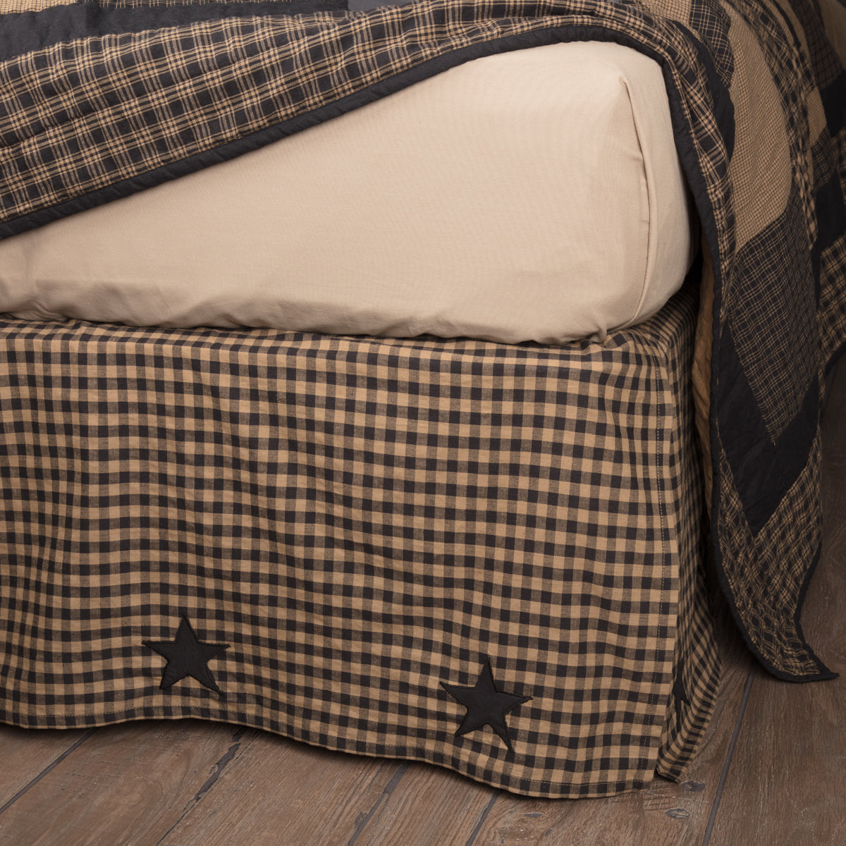 Black Check Star Twin Bed Skirt 39x76x16 - Woodrol
