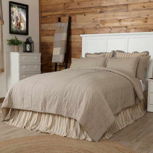 Sawyer Mill Charcoal Ticking Stripe Queen Quilt Coverlet 90Wx90L - Woodrol