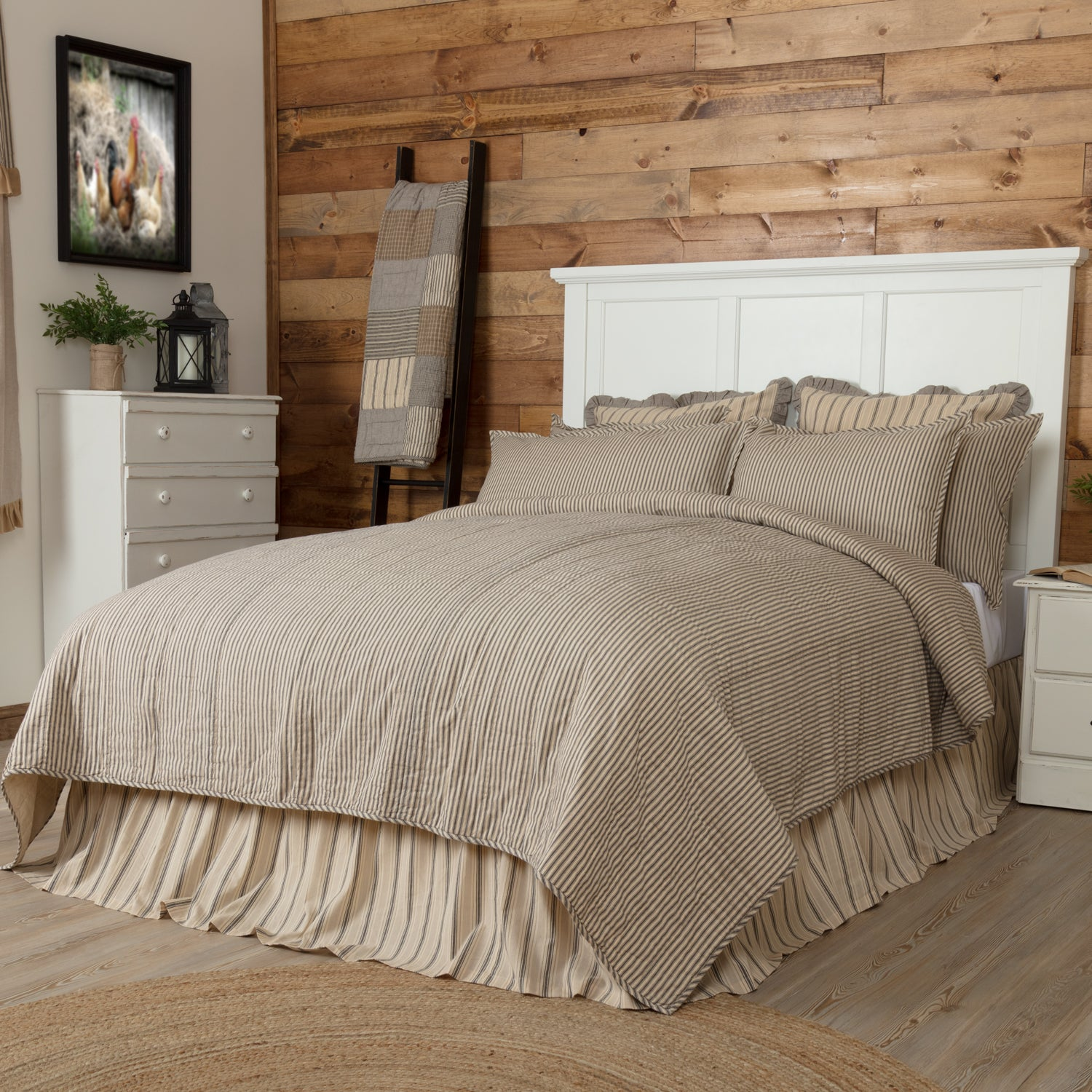 Sawyer Mill Charcoal Ticking Stripe Twin Quilt Coverlet 68Wx86L - Woodrol