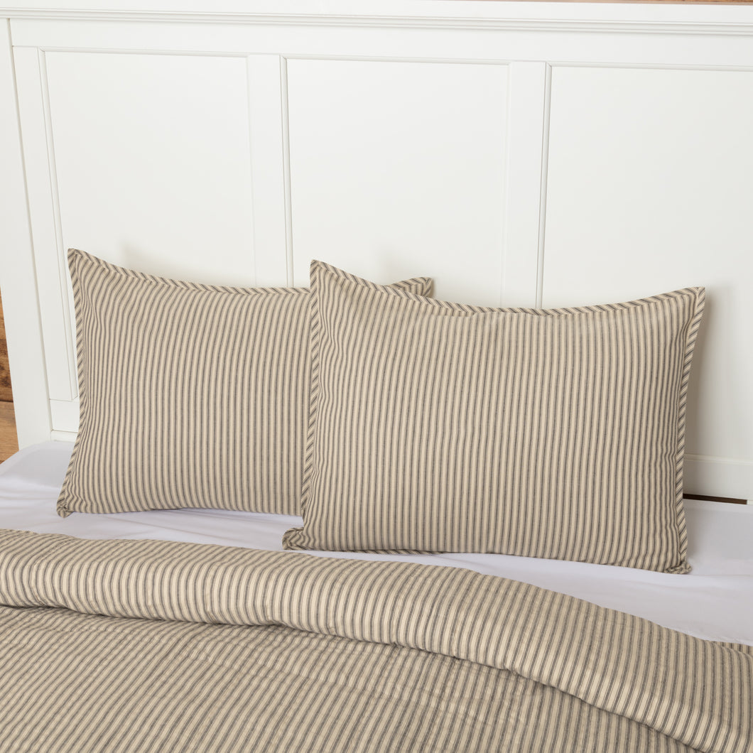 Sawyer Mill Charcoal Ticking Stripe Standard Sham 21x27 - Woodrol