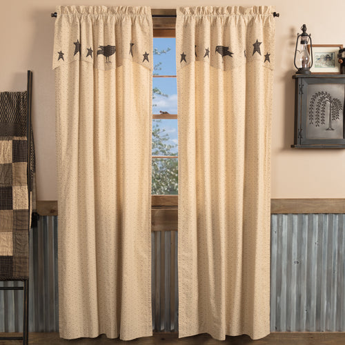 Kettle Grove Panel Curtain with Attached Applique Crow and Star Valance Set of 2 84x40 - Woodrol