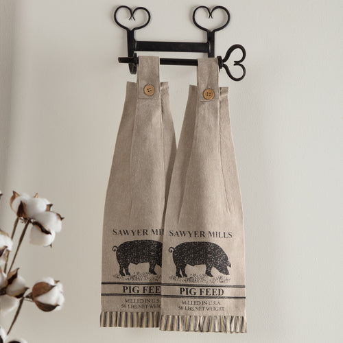 Sawyer Mill Charcoal Pig Button Loop Kitchen Towel Set of 2 - Woodrol