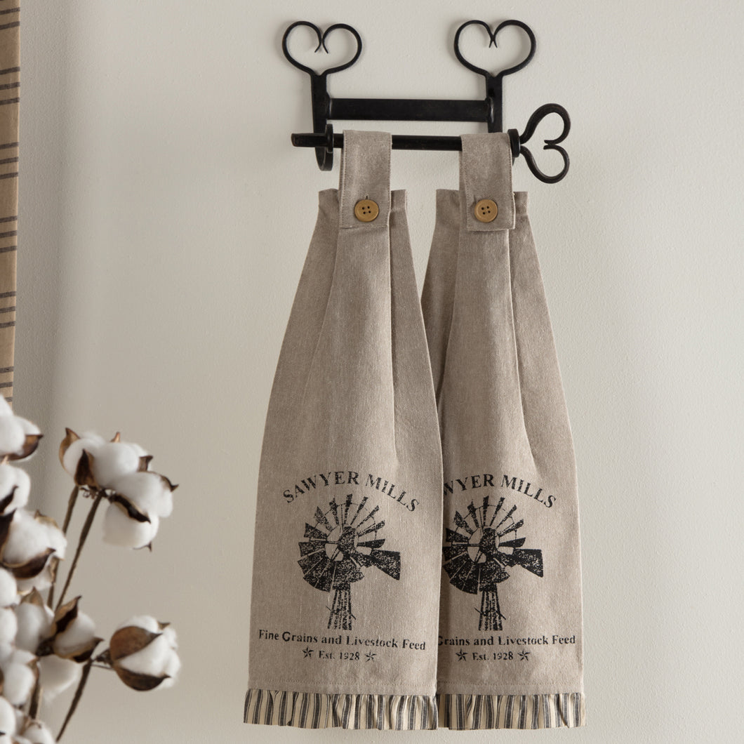 Sawyer Mill Charcoal Windmill Button Loop Kitchen Towel Set of 2 - Woodrol