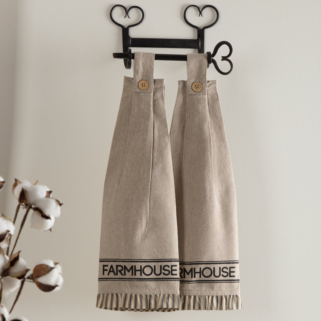 Sawyer Mill Charcoal Farmhouse Button Loop Kitchen Towel Set of 2 - Woodrol