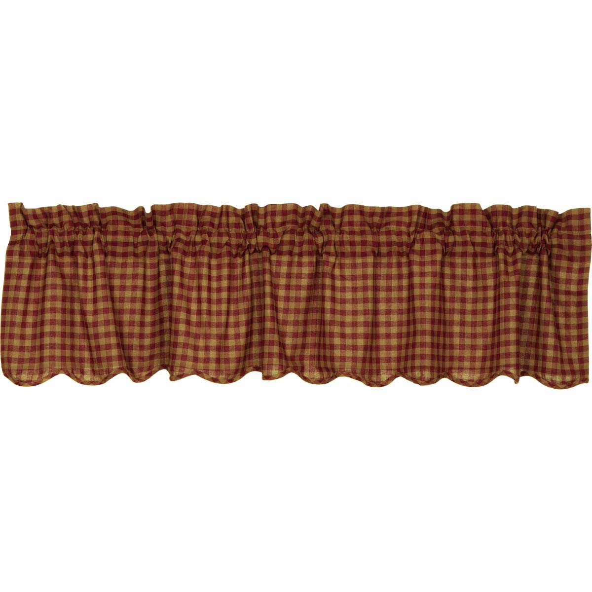 Burgundy Check Scalloped Valance 16x72 - Woodrol
