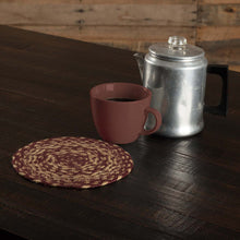 Burgundy Tan Jute Trivet 8 - Woodrol