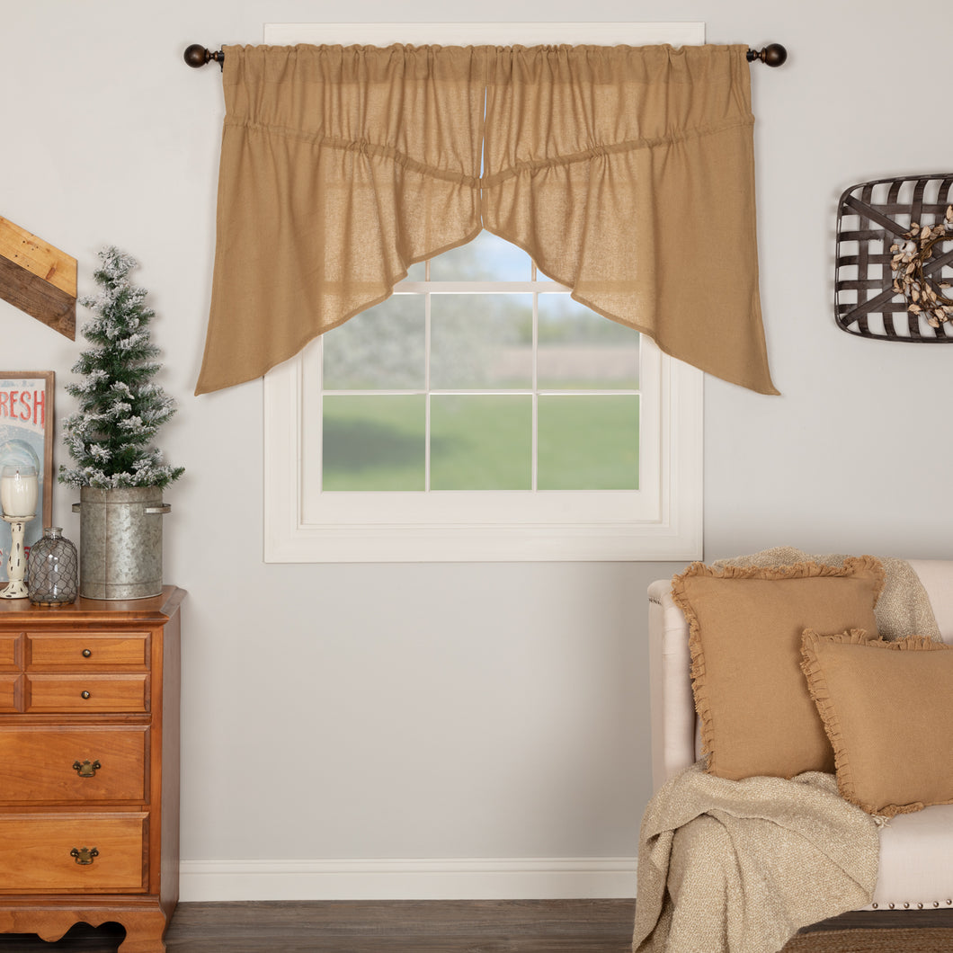 Burlap Natural Prairie Swag Curtain Set of 2 36x36x18 - Woodrol