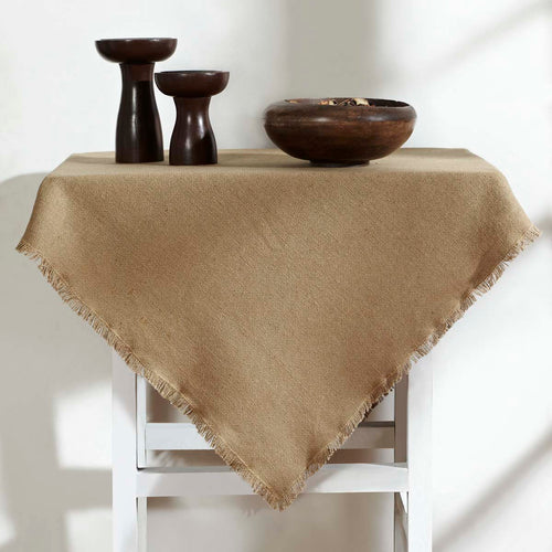 Burlap Natural Table Topper Fringed 40x40 - Woodrol
