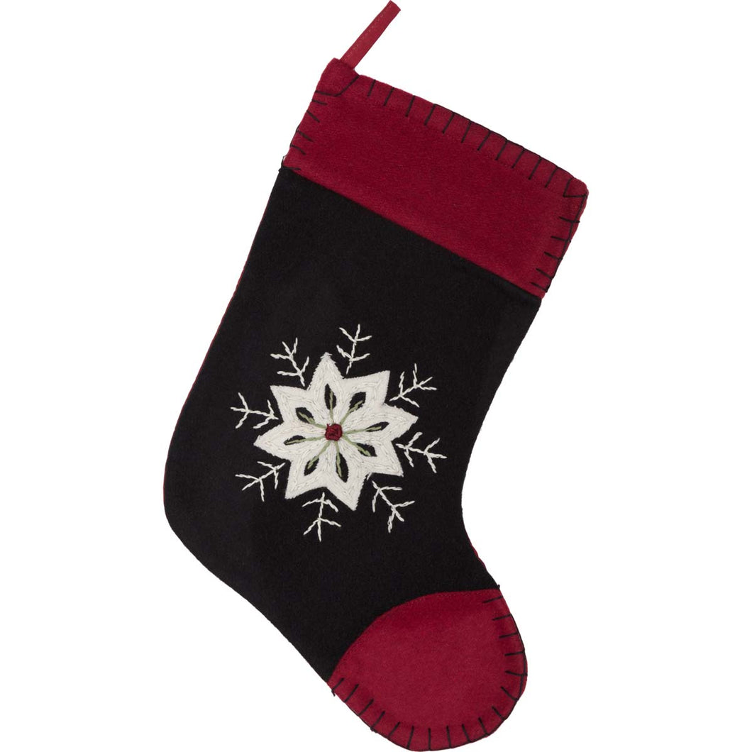 Christmas Snowflake Stocking Felt Embroidered 11x15 - Woodrol