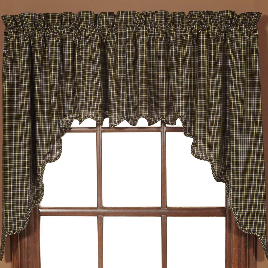 Kettle Grove Plaid Swag Scalloped Set of 2 36x36x16 - Woodrol