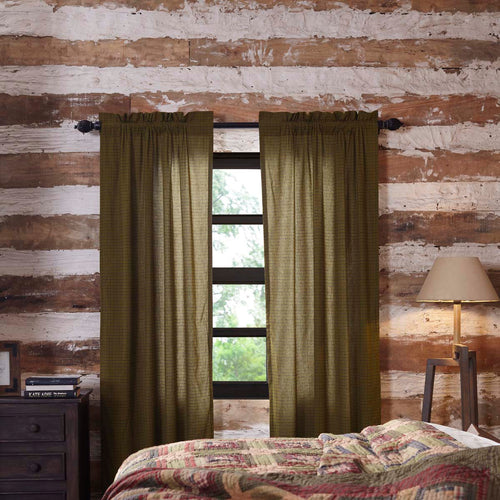 Tea Cabin Green Plaid Panel Set of 2 84x40 - Woodrol
