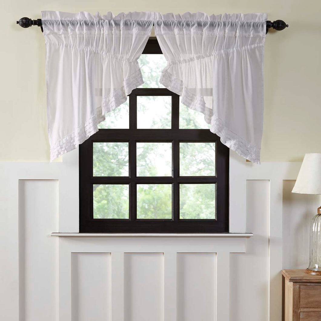 White Ruffled Sheer Prairie Swag Curtain Set of 2 36x36x18 - Woodrol