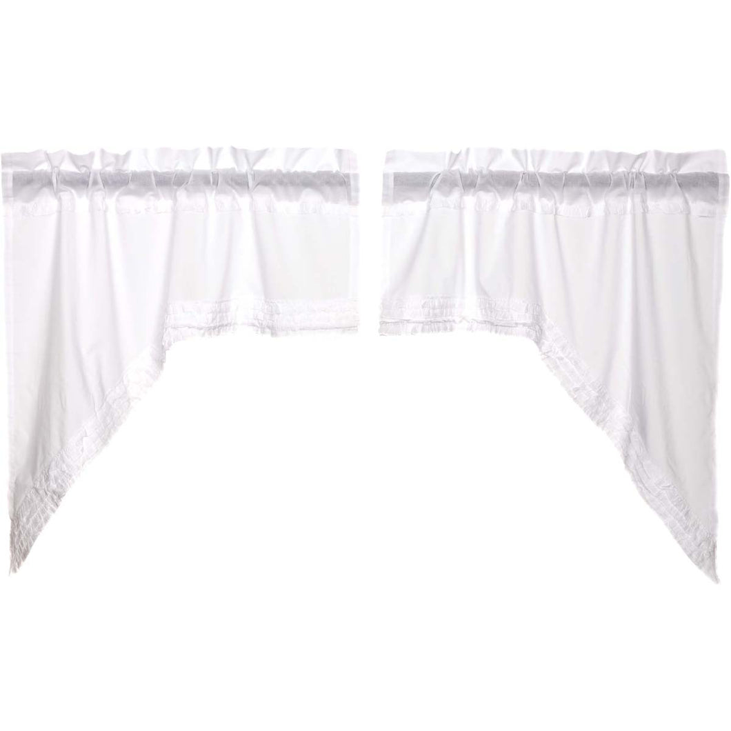 White Ruffled Sheer Swag Curtain Set of 2 36x36x16 - Woodrol