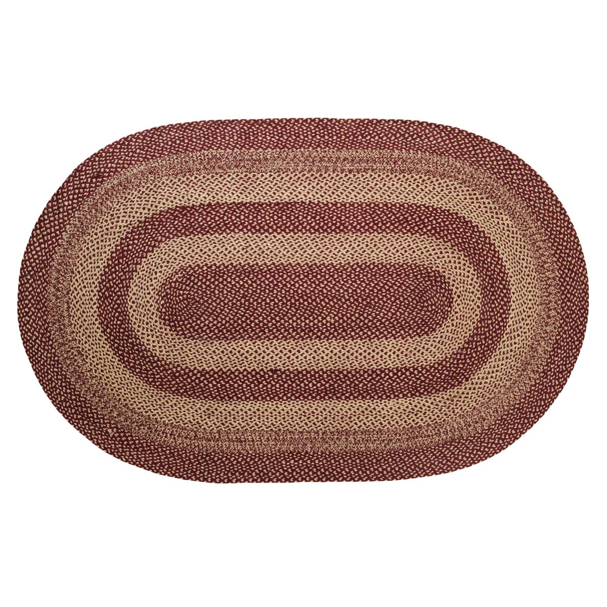 Burgundy Tan Jute Rug Oval 60x96 - Woodrol