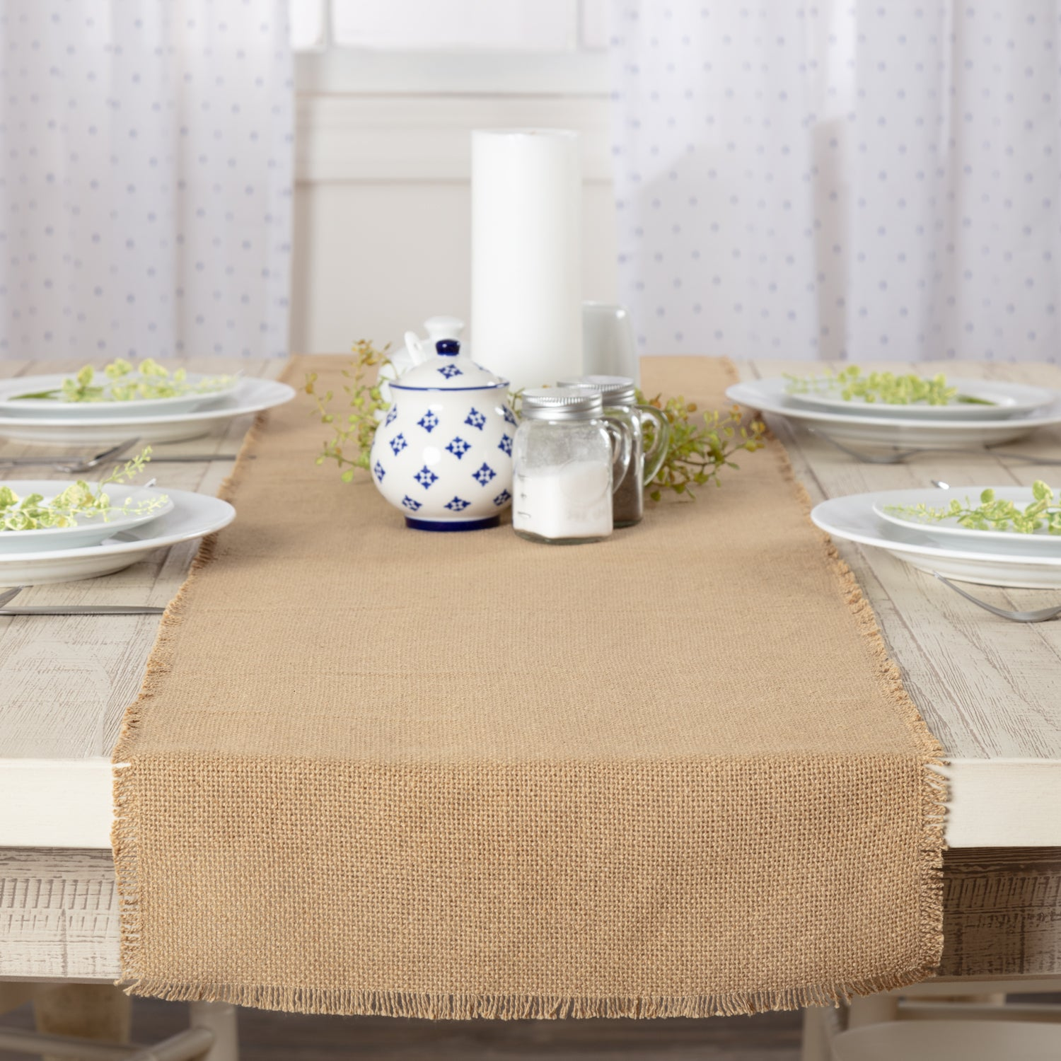 Burlap Natural Runner Fringed 13x72 - Woodrol