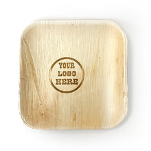 "Load image into Gallery viewer, 10"" Your Customized Logo Square Palm Leaf Plates (100 count)"