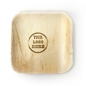 "10"" Your Customized Logo Square Palm Leaf Plates (100 count)"