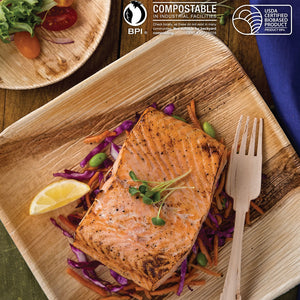 "9"" Square Palm Leaf Party Plates, perfect for everyday dining, events and occasions, grilled fish and seafoods, summer plates"
