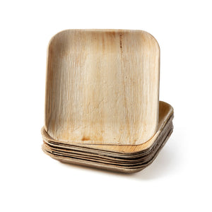 "Square Palm Plates 10"", Sustainable, Biodegradable and Disposable Leafware. Ideal for your dinner and event parties. Party plates, green and eco-friendly. Bundle leaf plates."