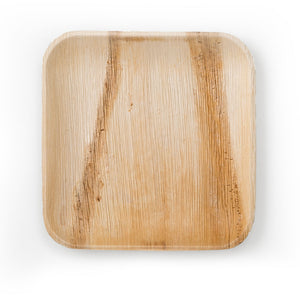 "100 count Square Palm Plates 10"", Sustainable, Biodegradable and Disposable Leafware. Ideal for your dinner and event parties. Party plates, green and eco-friendly."