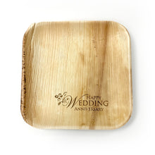 "Load image into Gallery viewer, 10"" Happy Wedding Anniversary Square Palm Leaf Plates (100 count)"