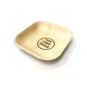"5"" Your Customized Logo Square Palm Leaf Plates (100 count)"
