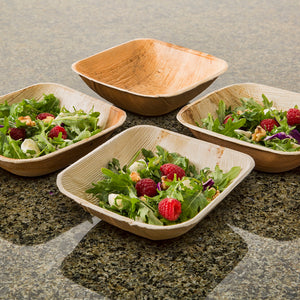 "TreeChoice 6.5"" Square Deep Palm Leaf Salad Bowls 12 oz. (25 count)"